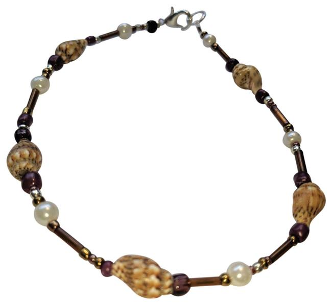 Item - Purple Brown White New Shell Anklet and J3649