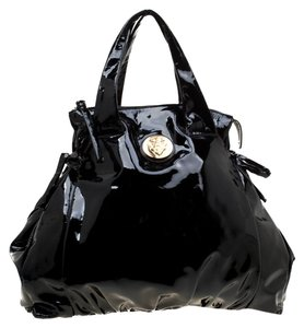 Gucci Patent Leather Nylon Tote in Black