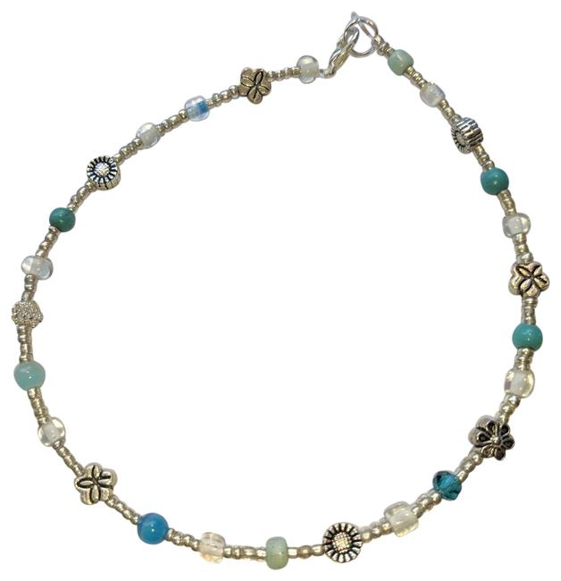 Item - Blue White Silver New Anklet Flowers Cute J3656