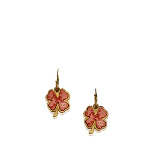 Chanel Chanel Gold Metal CC Clover Push Back Drop Earrings France SMALL