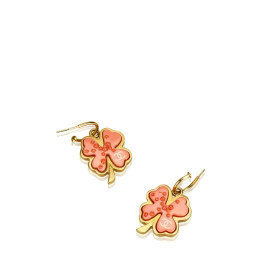 Chanel Chanel Gold Metal CC Clover Push Back Drop Earrings France SMALL Image 1