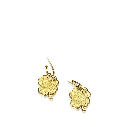 Chanel Chanel Gold Metal CC Clover Push Back Drop Earrings France SMALL Image 2