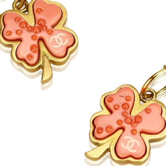 Chanel Chanel Gold Metal CC Clover Push Back Drop Earrings France SMALL Image 5