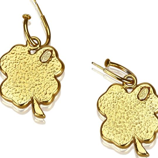 Chanel Chanel Gold Metal CC Clover Push Back Drop Earrings France SMALL Image 6