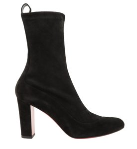 Christian Louboutin Suede Stretch Pull On Heel Round Toe Black Boots