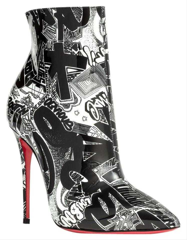 buy popular aa582 6fcf2 Christian Louboutin Black White Graffiti So Kate 100 Patent Nicograf Heel  Boots/Booties Size EU 38 (Approx. US 8) Regular (M, B) 29% off retail