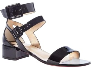Christian Louboutin Buckled Double Strap Patent Leather Black Sandals