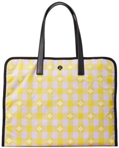 Kate Spade Morley Extra Large Tote in Frozen Lilac/Chartreuse, Yellow, Plaid