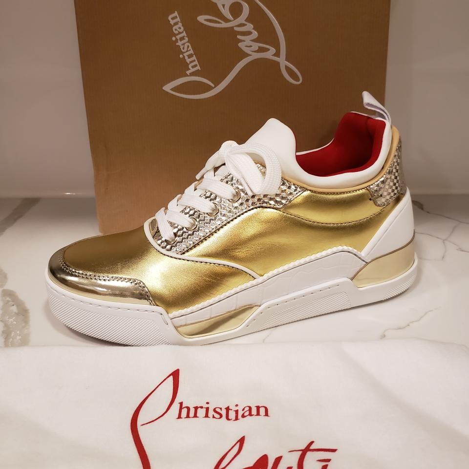 2831af11ea7 Christian Louboutin White/Gold Aurelien Donna Women Leather Sneakers Size  EU 39 (Approx. US 9) Regular (M, B) 35% off retail