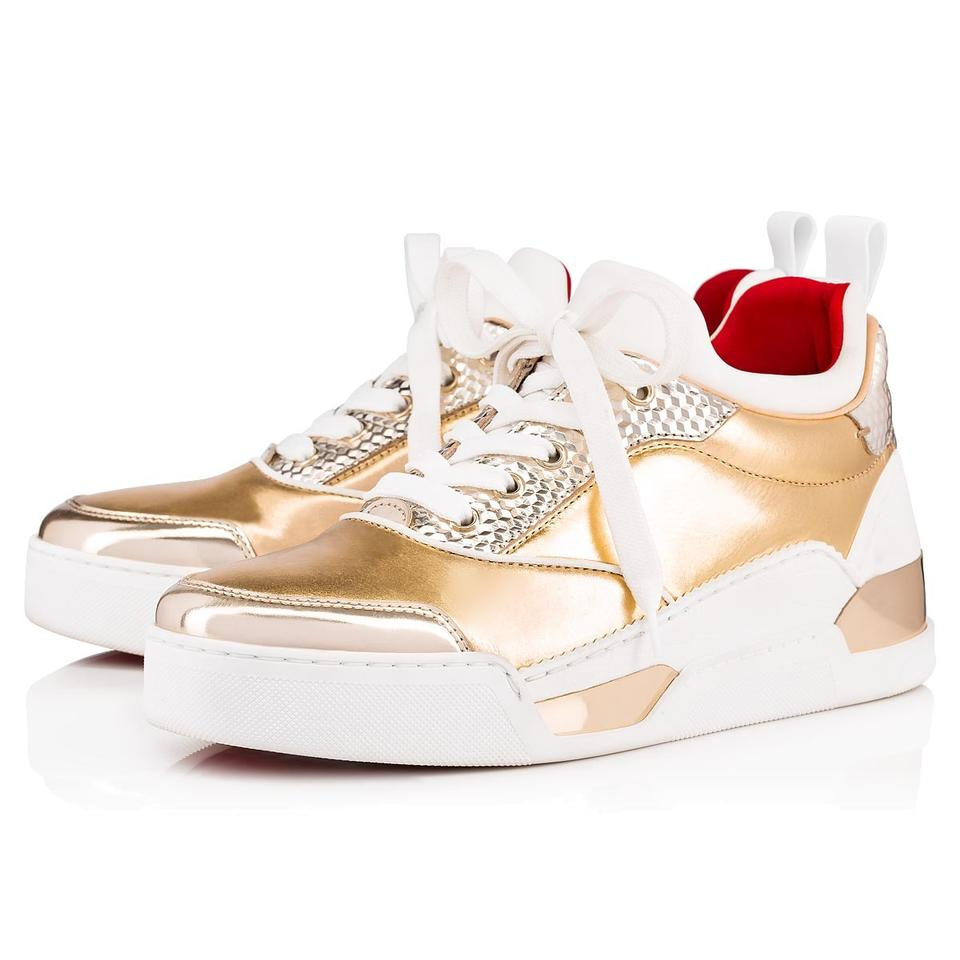 free shipping 1a083 43ca7 Christian Louboutin White/Gold Aurelien Donna Women Leather Sneakers Size  EU 39.5 (Approx. US 9.5) Regular (M, B) 35% off retail