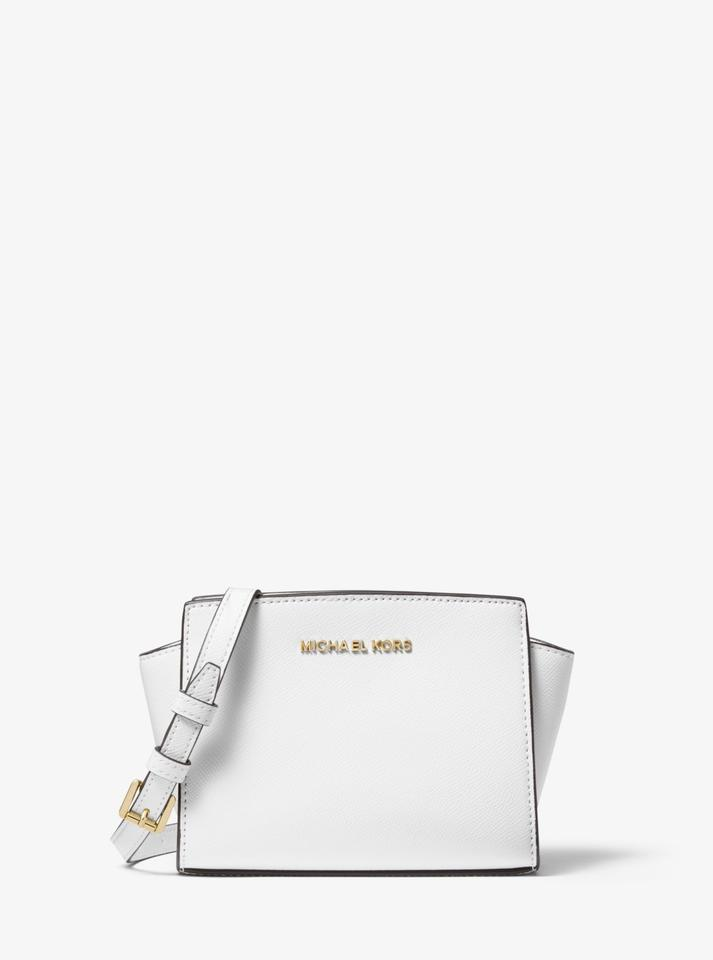 hot sales promo code browse latest collections Michael Kors Selma Mini Saffiano Optic White Leather Cross Body Bag