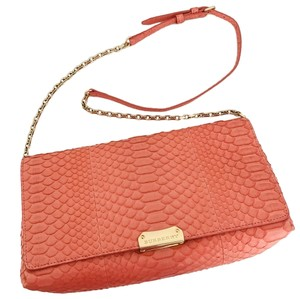 Burberry Suede Leather Embossed Leather Clutch Shoulder Bag