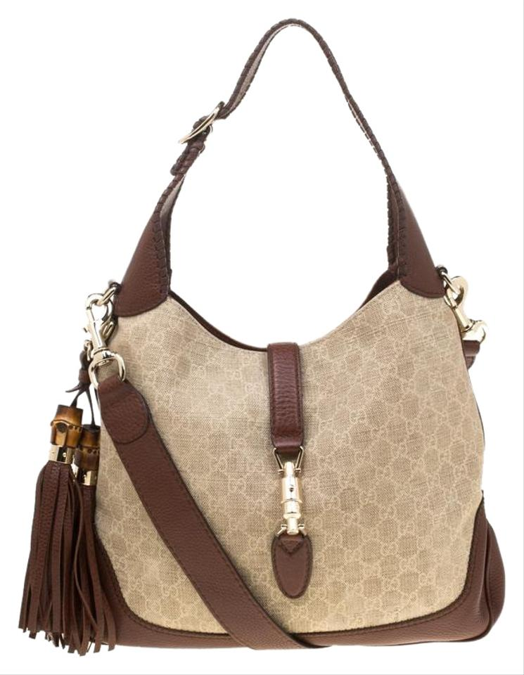 ec2f06e86 Gucci Jackie Beige/Brown Gg and Leather Medium New Beige Brown Canvas Hobo  Bag