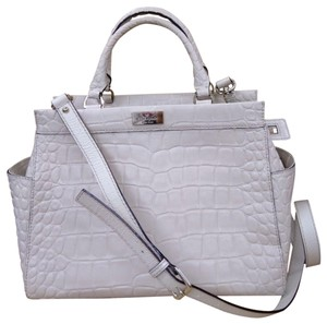 Kate Spade Embossed Satchel in White