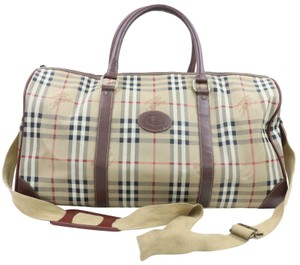 Burberry Keepall Bandouliere Duffle Beige Travel Bag