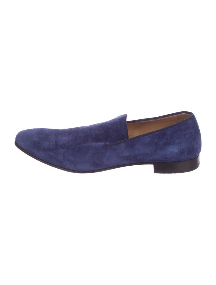 Christian Louboutin Blue Men S Suede Round Toe Loafers Flats Size Us 11 Wide C D