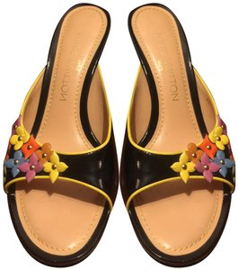 Louis Vuitton BLACK BACKGROUND WITH MULTI-COLOR ACCENTS Mules