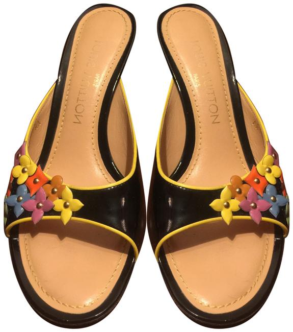 Item - Black Multi-color Accents Italy Mules/Slides Size EU 36 (Approx. US 6) Regular (M, B)