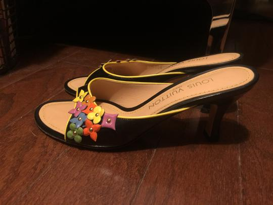 Louis Vuitton BLACK BACKGROUND WITH MULTI-COLOR ACCENTS Mules Image 1