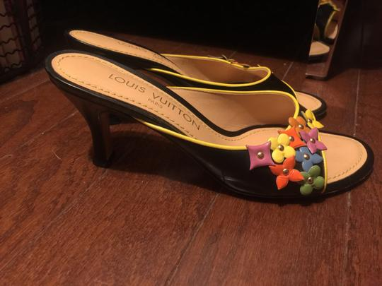 Louis Vuitton BLACK BACKGROUND WITH MULTI-COLOR ACCENTS Mules Image 2