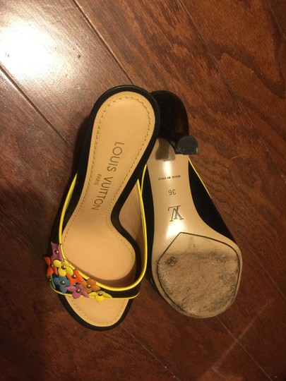 Louis Vuitton BLACK BACKGROUND WITH MULTI-COLOR ACCENTS Mules Image 3