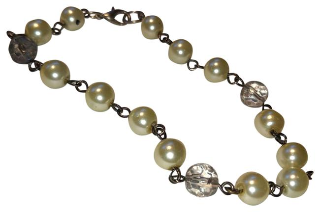 Item - White Gray New and Faux Pearl Chainlink Anklet Bracelet J3666
