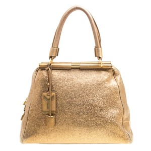 Saint Laurent Leather Canvas Metallic Tote in Gold