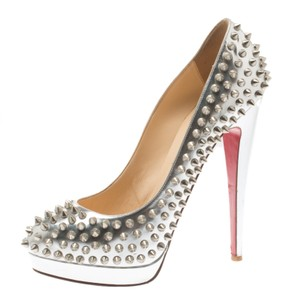 Christian Louboutin Leather Platform Spike Metallic,Silver Pumps