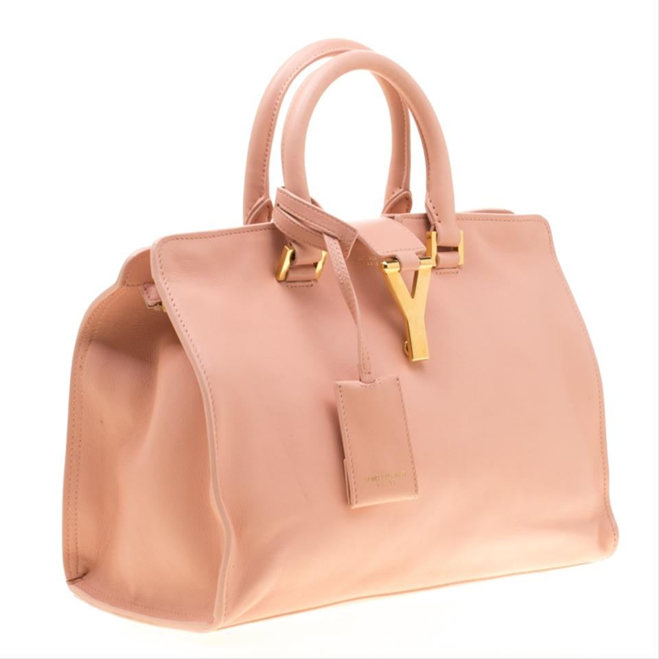 7ab1a9f030c Saint Laurent Cabas Paris Peach Small Ligne Y Pink Leather Tote - Tradesy
