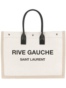 Saint Laurent Leather Linen Tote in White/Beige
