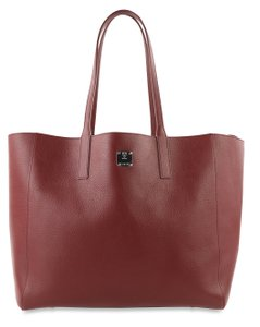 MCM Medium Shopper Ruby Tan Tote in Red
