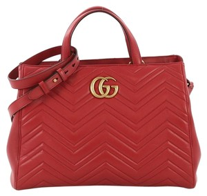 Gucci Marmont Leather Tote in Red