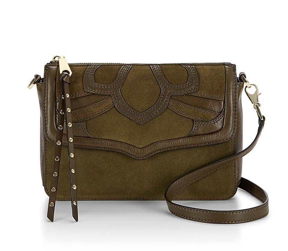 170372130 Rebecca Minkoff Laurie Olive Green Cowhide Leather and Suede Cross Body Bag