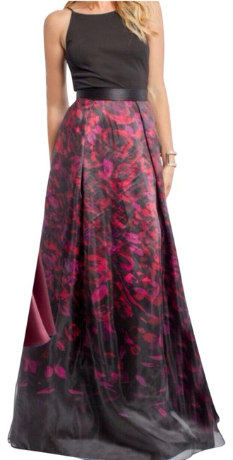 Item - Black Red Slip Top Printed Skirt New Long Formal Dress Size 10 (M)