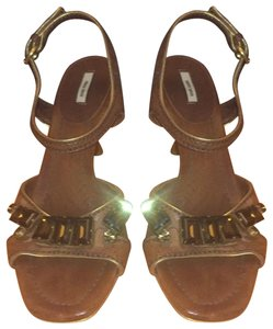 Miu Miu brown gold Wedges