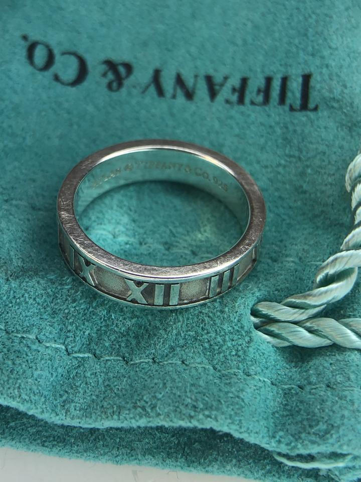 847064a2d Tiffany & Co. Sterling Silver Atlas Narrow Roman Numeral Ring 4.25 Image 5.  123456