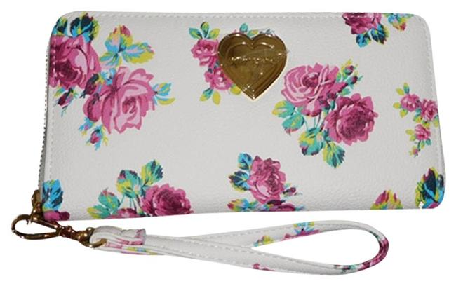 Item - White Pink Rose Print/ Zip Around Wallet