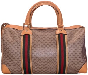 Gucci Monogram Vintage Satchel in Tan with red/green web detail