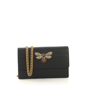 Gucci Queen Margaret Chain Wallet Black Clutch