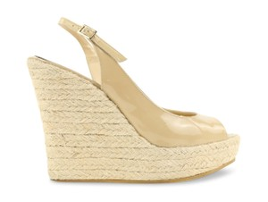 Jimmy Choo Patent Italy Espadrille Beige Wedges