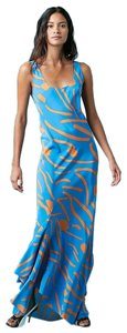 Blue and Orange Maxi Dress by Diane von Furstenberg Silk Maxi Flowy Vacation