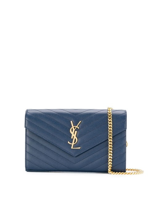 Item - Chain New Monogramme Contrast Piping Denim Leather Shoulder Bag
