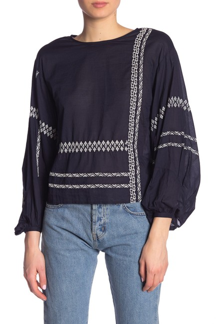 Joie Boho Bohemian Embroidered Top navy blue with white Image 1
