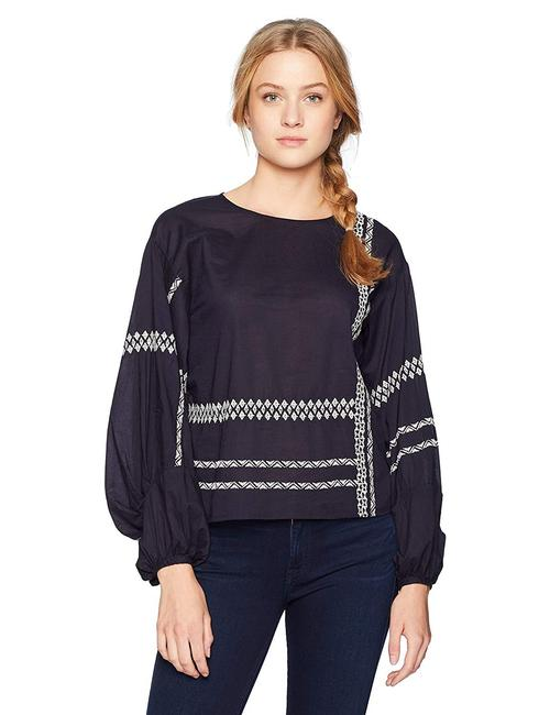 Joie Boho Bohemian Embroidered Top navy blue with white Image 2