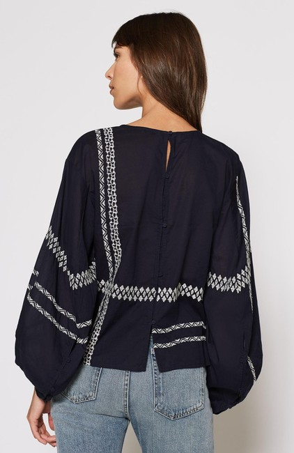 Joie Boho Bohemian Embroidered Top navy blue with white Image 3