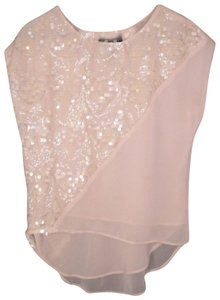 d09afee7e7c5c7 Anthropologie Sequined Blush Chiffon Paillette Top Pink