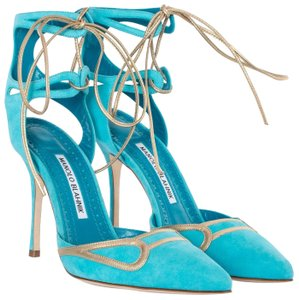 Manolo Blahnik Suede Ankle Strap Gold Turquoise Pumps