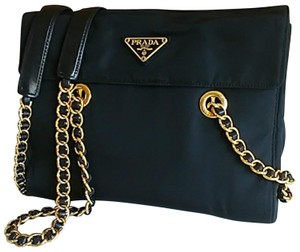 Prada Polished Brass Gold Tone Hardware Nylon Shoulder Bag