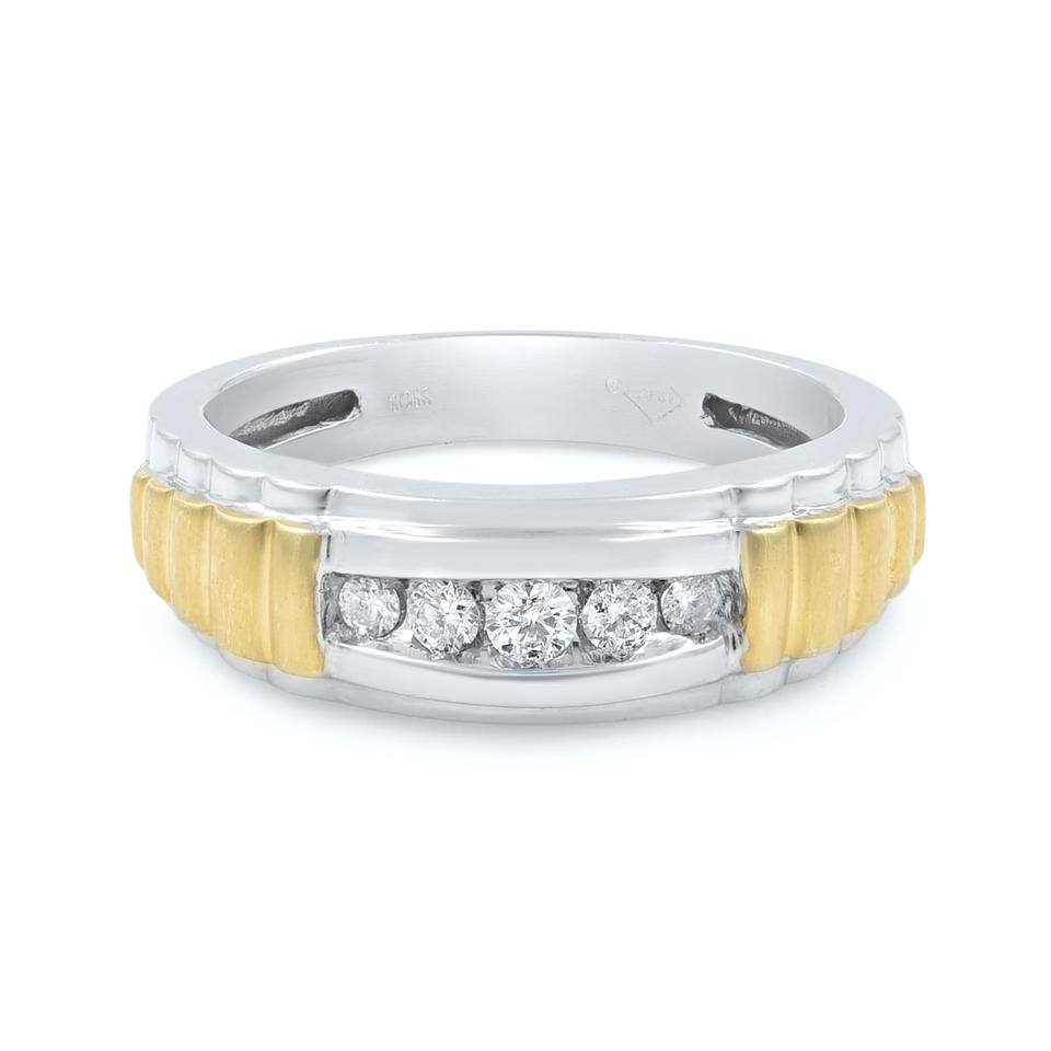 b8a2ec337d1a7 10k White Gold Round Cut Diamond Wedding Band For Men 0.40 Cts Ring