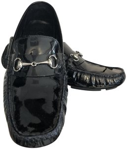 Cole Haan Non Slip Driving Loafers Horse Bit Black Patent Leather Flats